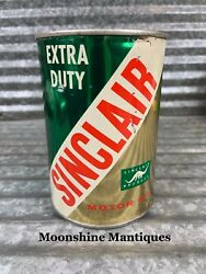 1950's Sinclair Extra Duty Motor Oil Can 1 Qt. - Gas And Oil