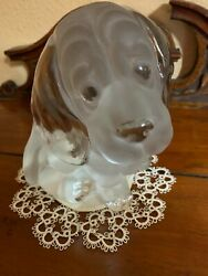 Vintage Viking Glass Beagle Bookend Figurine with Label Handmade