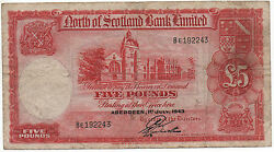 North Scotland 5 Pounds 1943 Pick S 645 Look Scans