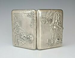 Large Rare 19c Russian Silver Double Sided Cigarette Case
