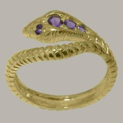9ct Yellow Gold Natural Amethyst Womens Band Ring - Sizes J To Z