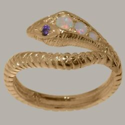 14ct Rose Gold Natural Opal Amethyst Womens Band Ring - Sizes J To Z