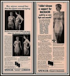 Ad Lot Of 2 1941 1943 A Ads Spencer Corset Before And After Slumping Figure