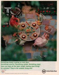 1961 B Ad United States Steel Patio Bbq Kebabs Table Chair