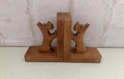 """Vintage Art Deco Wood/tree """"westie West Highland Terrier Dogs Bookends"""