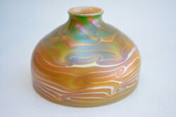 Gold Luster Dome Shade With Green King Tut Design. Blown Glass By Saul Alcaraz