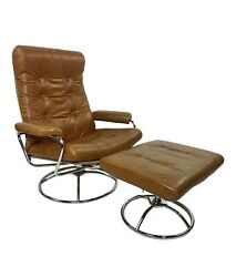 Mid-century Modern Plycraft Reclining Arm Lounge Chair And Ottoman