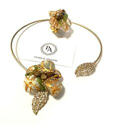 Gold Choker Necklace + Ring - Green Marble Tiger Eye Stones By Patricia Adelson.