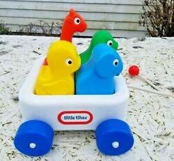 Vintage Little Tikes Wagon 'n Friends Kids Pull Toy W/ 4 Colorful Animals 1982