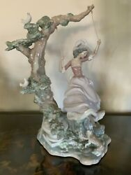 Lladro Victorian Girl On A Swing Porcelain Figurineandhellip.mint