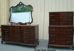00001 Antique Mahogany High Chest + Dresser With Mirror