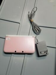 Nintendo 3ds Xl System White And Pink Console With Charger Missing Stylus/sd Card