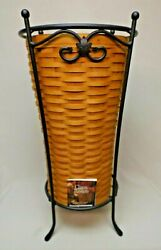 Longaberger 2001 Hostess Umbrella Basket With Wrought Iron Stand And Certificate
