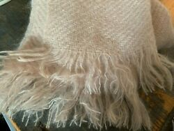 Nantucket Looms Iconic Mohair Wrap Nwot Hand-woven, Pink Blush, Fringe 20 X 80