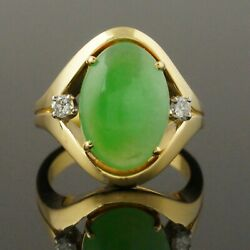 Solid 18k Yellow Gold Oval Apple Jade Cabochon And Diamond Woman's Estate Ring