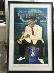1995 New Orleans Jazz Fest Poster Louis Armstrong With Blue Dog, George Rodrigue