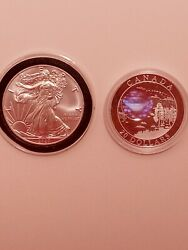 2oz Silver Coin Lot - 2020 American Silver Eagle - 2005 Canadian Natural Wonders