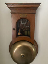 Htf 1800s Antique Gamewell Oak Firehouse Brass 15in. Gong Alarm Fire House