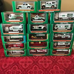 Complete Set Of 17 Hess Mini Trucks 1998 Through 2014 Direct From Factory Case