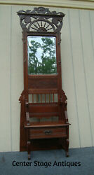 62129 Antique Victorian Hall Tree Seat Hat Rack With Mirror