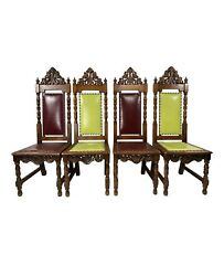 Antique Gothic Dining Chairs - Set Of 4