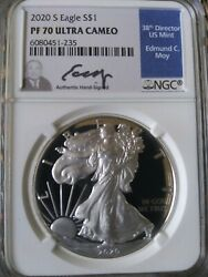 2020s Eagle S1 Pf 70 Ultra Cameo. Ngc Graded 38th Director Us Mint Edmund Moy
