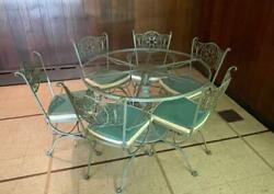 Woodard Wrought Iron Andalusian Round Patio Dining Set With 6 Chairs And Cushions