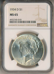 1934-d Peace Silver Dollar Ngc Certified Ms 65 Free Shipping