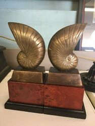 Gorgeous Pair Of Vintage Ethan Allen Aged Brass Nautilus Shell Bookends 9 Tall
