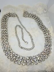 Gorgeous Long Silver Tone Large Clear Rhinestone Slider Belt With Chain