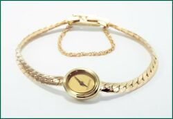 Vintage And Company Small Face Oval Watch In 14k Yellow Gold