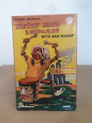 Mint Marx Nutty Mad Indian With War Whoop, 1950s Battery Powered Drumming Indian