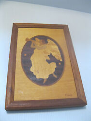 Hudson River Inlay Wooden Marquetry Picture Vintage Angel Artist Hudson