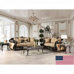 Sofa Loveseat Traditional Leatherette Pillows Espresso Gold 2pc Set Made In Usa