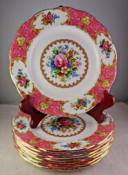 Set Of 8 Royal Albert Lady Carlyle Salad Or Dessert Plates – Pink Floral W/gold