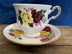 Queen Anne Red And Yellow Roses Tea Cup