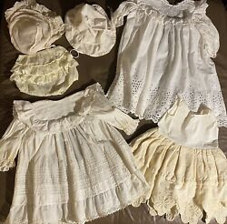Lot Antique Vintage 1900s Baby Christening Baptismal Gown Bloomers Bonnets