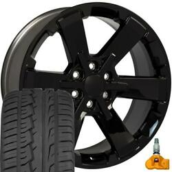 22x9 Fit Gmc Chevy Black Rally Style Ck162 22 Rims W/ironman Tires Oew