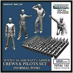 1/200 Figure Fourship Wwii Us Navy Aircraft Carrier Crew Japan 2001 W/tracking