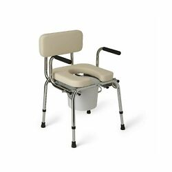 Medline Drop Arm Commode Heavy Duty Padded Adjustable Height Safety G98204 New