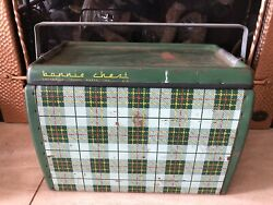 40andrsquos Bonnie Green Plaid Metal Ice Chest Cooler W/handle Vtg Car Rv Trailer Rally