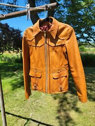 Vintage 1960's East West Musical Instruments Co. Smoke Leather Mens Jacket