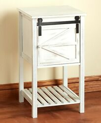 Barn Door-style White Wood End Side Table Storage Farmhouse Country Home Decor