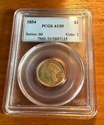 1854 3 Gold Indian Princess Pcgs Au 55 First Year Of Issue