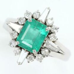 Platinum 900 Ring 11 Size Emerald 1.51 Diamond About7.7g Free Shipping Used