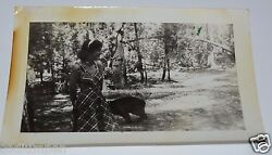 Vintage 1930's Black And White Photograph Pretty Lady Baby Black Bear Cub Forrest