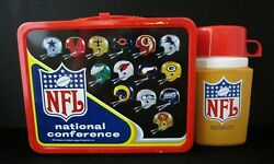 Vintage Nfl Football 1976 Metal Lunchbox With Thermos C9+ Minty Rare Beautiful