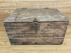 Dewars Scotch Whisky Shipping Crate Vintage Antique Wooden Box Wood Case 🇺🇸