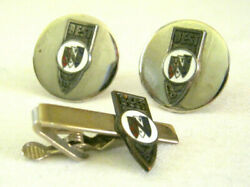 Old 1960and039s Best Enamel Buick Car 3 Shield Sales Award Cufflinks And Tie Bar