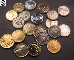 20 Gold+silver Plated Ih+wheat+buffalo+nickel Lot // Cl88